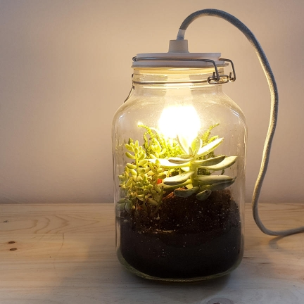 Design of terrarium lamps combining upcycling, 3D printing and vintage glass jars.